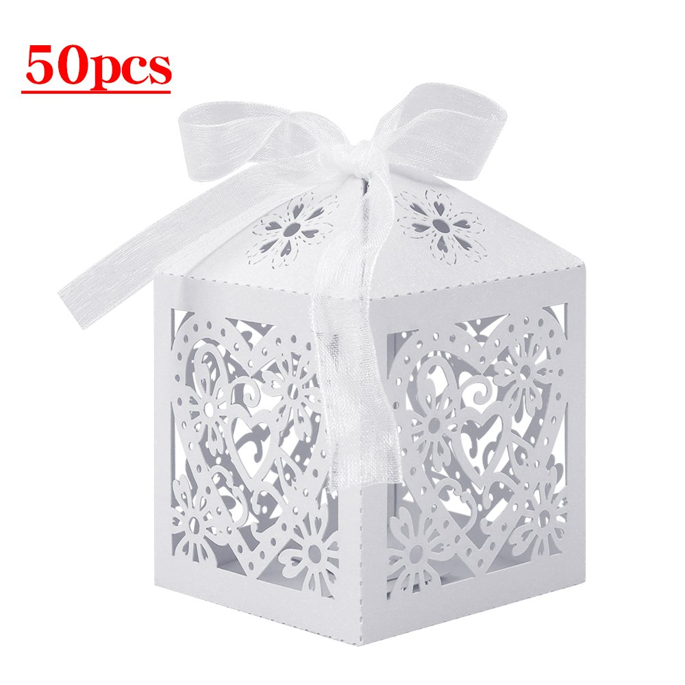 Lucky Monet 25/50/100PCS Love Heart Laser Cut Wedding Candy Gift Box Chocolate Box for Wedding Favor Birthday Party Bridal Shower with Ribbon (50pcs, White)