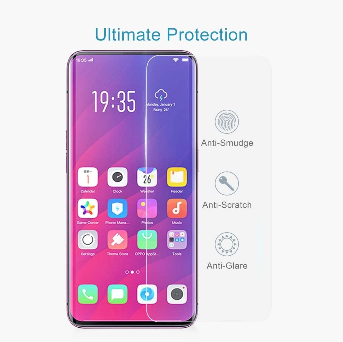 CAIFENG Tempered Glass Film Screen Protector 100 PCS 0.33mm 9H 2.5D Tempered Glass Film for Oppo Find X Anti-Scratch