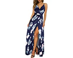 II ININ Women's Deep V-Neck Casual Dress Summer Backless Floral Print/Solid Split Maxi Dress for Beach Party