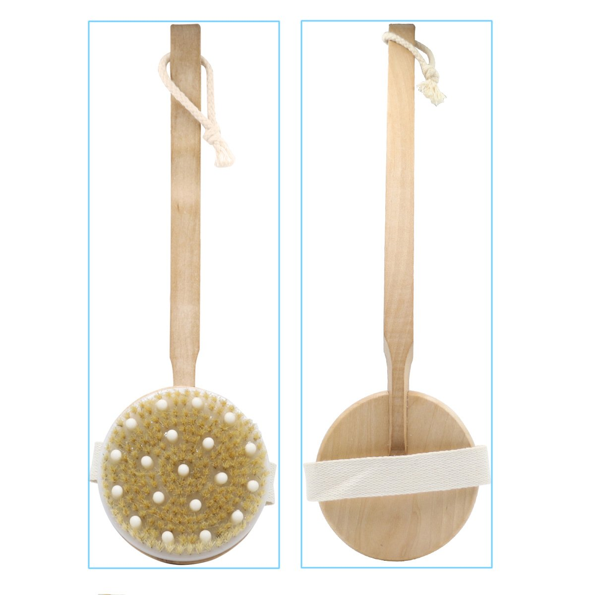 Body Brush Dry Brushing Massager Bath Shower Back Spa Scrubber with 100% Natural Boar Bristles and Long Wood Handle