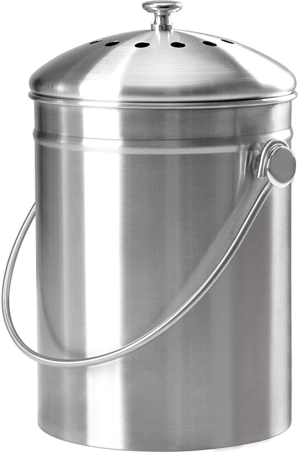 Compost Bin Kitchen Indoor Outdoor Counter-top Charcoal Filter 1.3 Gallon by Skallywags Depot