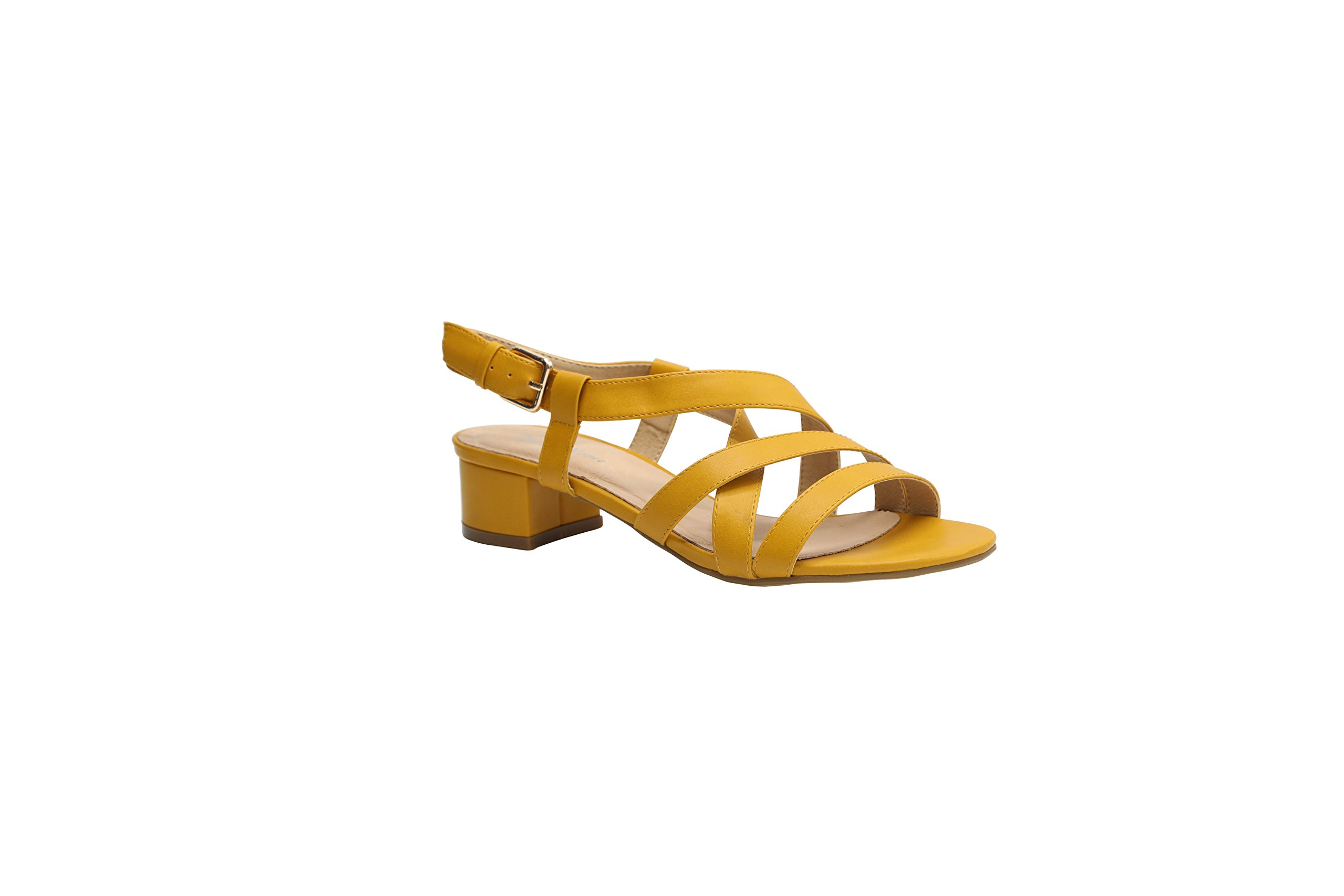 Dolce Nome Fashion Short Healed Open Toe Women's Designer Sandals Italian Style Well Constructed Ladies Fancy Shoes (41, Mustard)