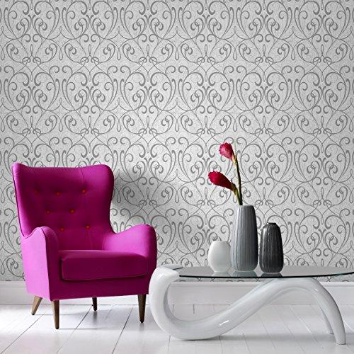 Graham & Brown 103039 Cork Damask Light Silver Wallpaper,...