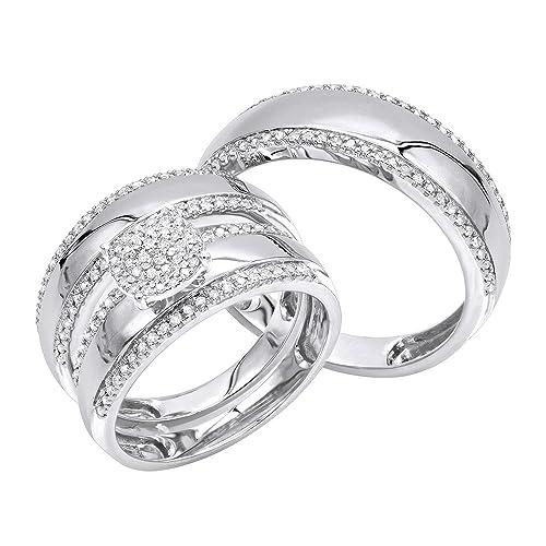 Amazon.com: 10 K oro anillo de compromiso y boda Bandas para ...