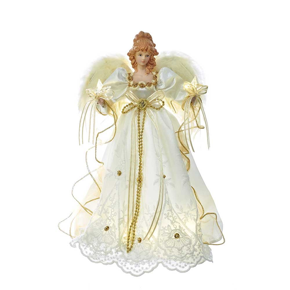 Kurt Adler 14-Inch Battery-Operated Ivory and Gold LED Angel Treetop
