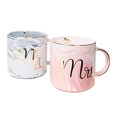 Vilight Mr Mrs Coffee Mugs Set - Gift for Engagement Wedding Bridal Shower and Married Couples Anniversary - Ceramic Marble 11.5 oz with FREE GIFT TAG