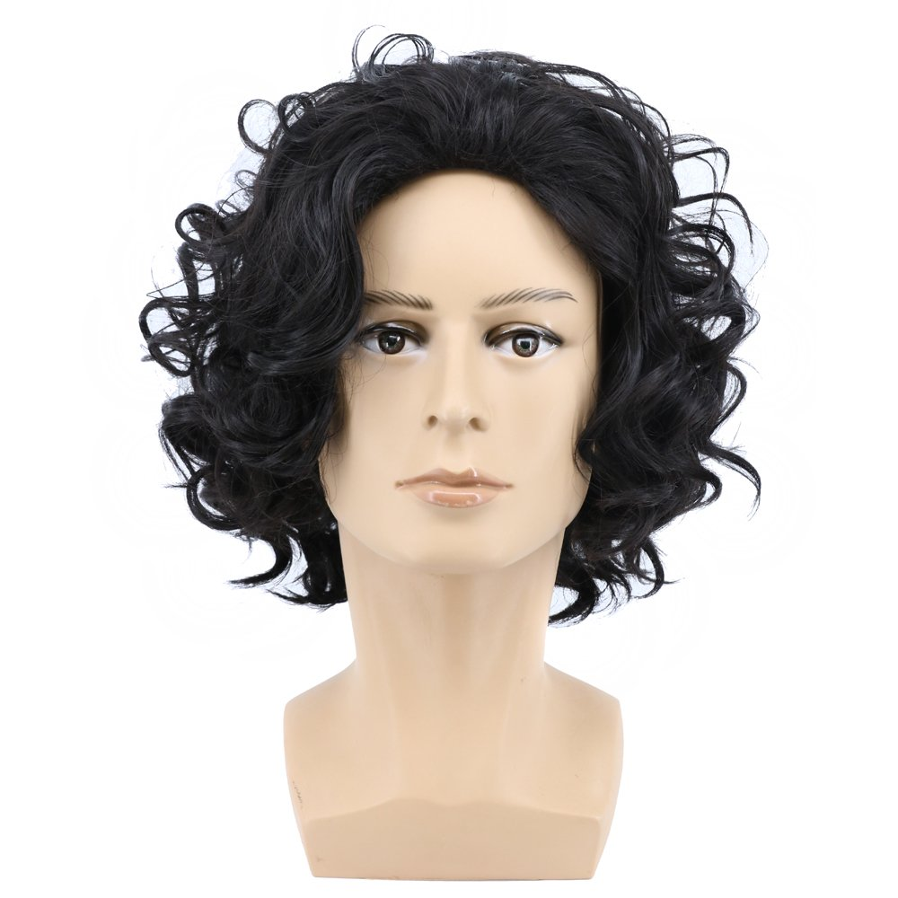 Yuehong Short Curly Natural Black Color Anime Men Cosplay Wig