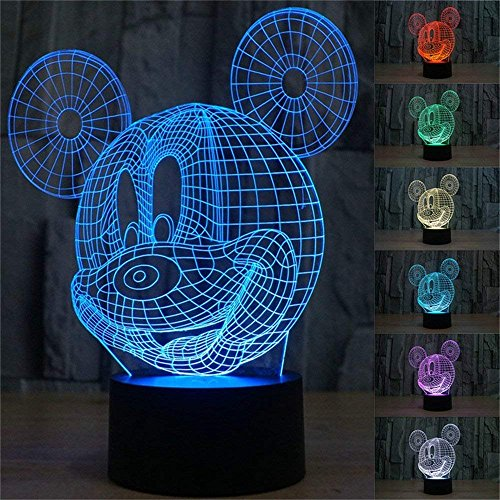 (3D Mickey Mouse LED Night Light Touch Table Desk Lamp for Kids Gift, Elstey 7 Colors 3D Optical Illusion Lights with Acrylic Flat & ABS Base & USB Charger)