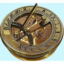 Antiques World Marine Décor Antique Copper Navigational Nautical Brass Popat Sundial Compass Sun Clock AWUSASC 059