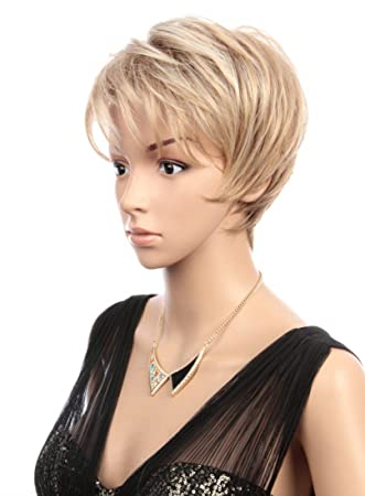 Prettyland Peluca - Rubio Pixie peluca corta marrón y rubio flequillo veteados de flecos C695: Amazon.es: Belleza