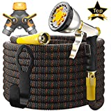[UPGRADED 2019] Garden Hose Expandable - Superior Strength 3750D | 4-Layers Latex | Extra-Strong Brass Connectors | 10-Way Durable Zinc Water Spray Nozzle, 2-Way Pocket Flexible Splitter (100 Feet)