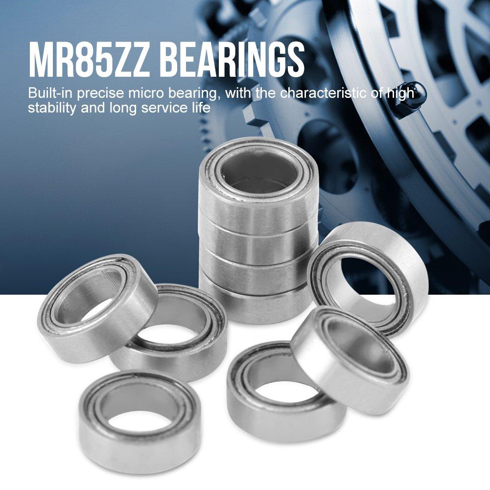 10 rodamientos de bolas de metal con doble blindaje MR85ZZ; 5 x 8 x 2,5 mm