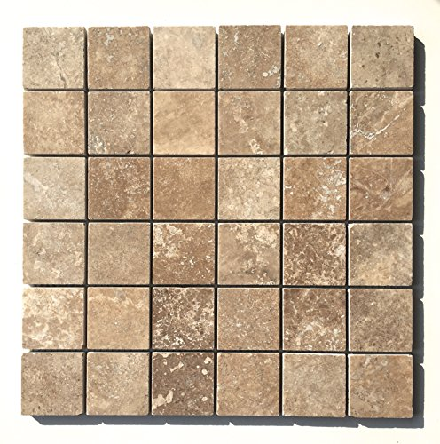 Walnut 2x2 Honed Filled Straight Edge Travertine Mosaic Tile Floor (Tuscany Bathroom Mosaic)