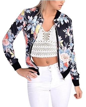 Femmes Floral Imprimer Jacket Manches Longues Bomber Bombardier Veste Zip  Manteau Outwear Tops L
