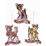 "Kurt Adler YAMC5491 4.5"" Metal Retro Deer Ornament Set of 3"