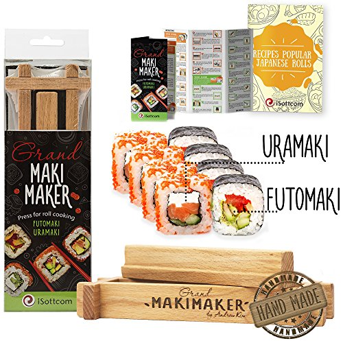 Sushi Making Kit by iSottcom - Sushi Kit for Chef and Beginners - Makimaker Grand Your Own Best Professional Chef Sushi Maker - Japanese Sushi and Rolls at Your Home with Sushi Roll Kit - Sushi (Sushi Press)