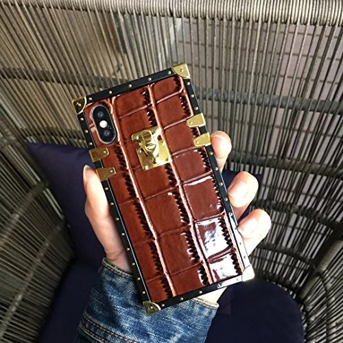 Brown Trunk - HeiL iPhoneX/XS Trunk (US Deliver Guarantee Fulfilled by Amazon) New Elegant Luxury PU Leather Classic Style Cover Case for Apple iPhone X iPhone Xs (Trunk Crocodile Brown)