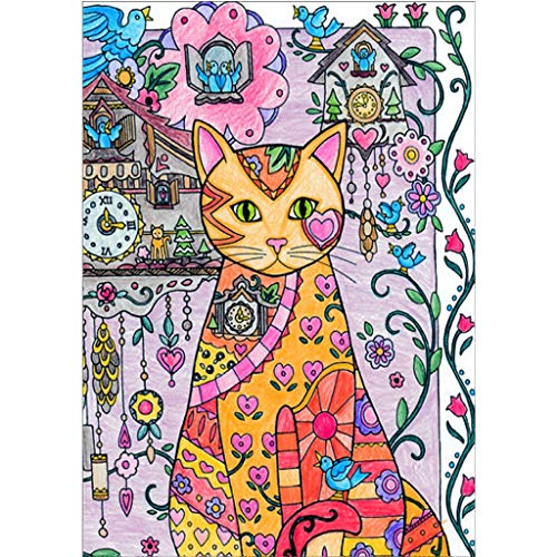 (Baulody DIY 5D Diamond Painting Kits for Kids & Adult Colorful Cat Round Rhinestone Embroidery Cross Stitch Arts Craft Canvas Wall Decor, 12X16 inch (B))