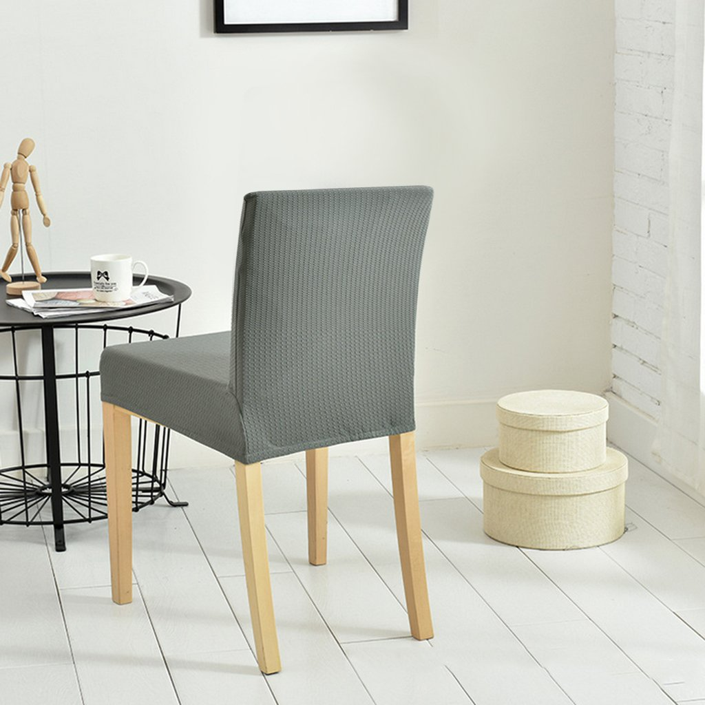 Baoblaze 4Pieces Grey Water-Proof Elastic Stretch Dining Room Short Back Chair Seat Cover Bar Stool Slipcovers