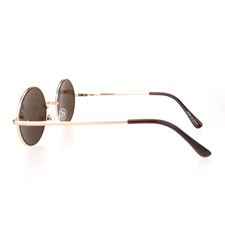 Mens Classic Hippie Round Circle Lens Hipster Metal Rim Sunglasses