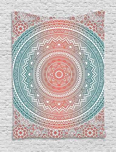 Ambesonne Teal and Coral Tapestry, Ombre Mandala Art Antique Gypsy Folk Pattern Mystical Cosmos Image, Wall Hanging for Bedroom Living Room Dorm, 60