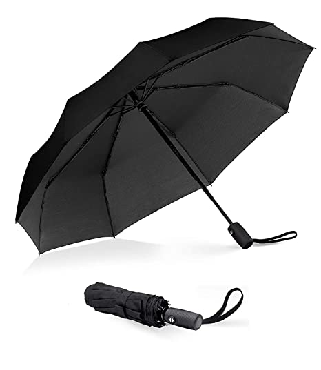 2cef7f9eef00 Compact Windproof Travel Umbrella with Teflon Coating,SJXING Automatic Open  Close Lightweight Sun&Rain Folding Umbrella with 9 Rib ...