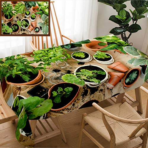 Unique Custom Design Cotton and Linen Blend Tablecloth Natural Plants in Pots Green Garden On A Balcony Urban Gardening Home PlantingTablecovers for Rectangle Tables, Small Size 48