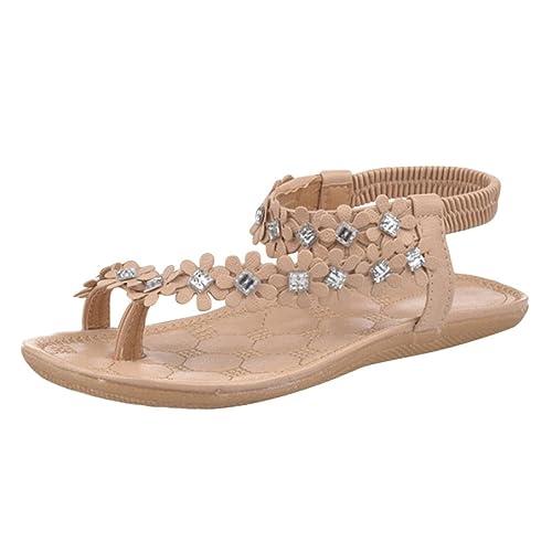 Damen Sandalen Frauen Sommer Böhmen Blume Perlen Flip-Flop Schuhe Flachen Sandalen (36, Khaki)