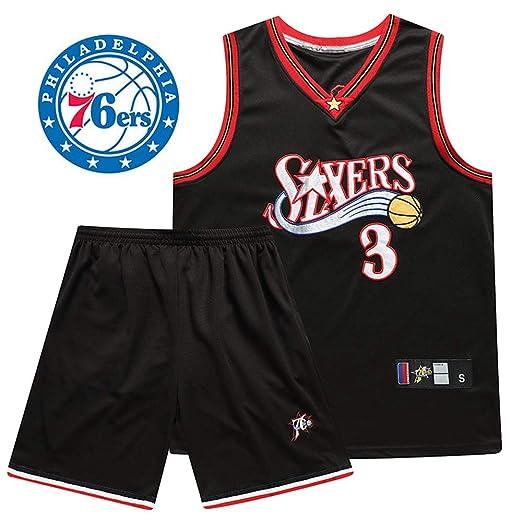 LSYR Traje de Uniforme de Baloncesto Iverson No. 3 Jersey 76Ers Traje de Uniforme de Baloncesto Iverson Bordado conmemorativo Retro,XS(0~170cm)