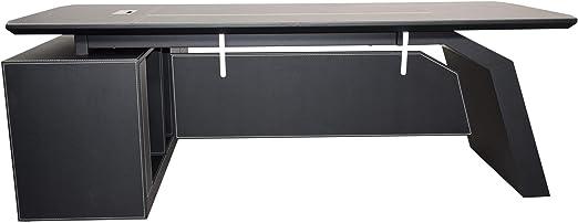 Design Chef Schreibtisch 2,2m Büro Möbel Ausstattung Bari links Edelstahl Leder
