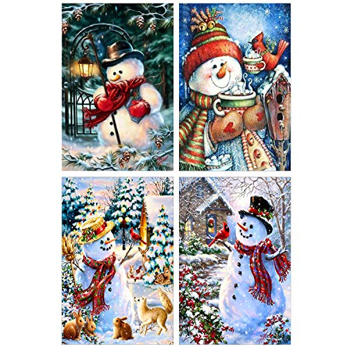 4 Pack 5D DIY Diamond Painting Kits Snowman Full Drill Rhinestone Embroidery Cross Stitch Painting for Christmas Winter Party&Home Desk And Cabinet Decoration
