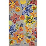 Tropical Area Rugs Safavieh Four Seasons Collection FRS468C Hand-Hooked Grey and Orange Indoor/ Outdoor Area Rug (3'6