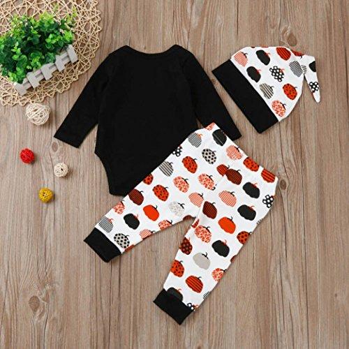 Omiky® Neugeborene Säuglingsbaby-Buchstabe-Spielanzug Tops + Hosen-Halloween-Ausstattungs-Kleidung-Satz Schwarz