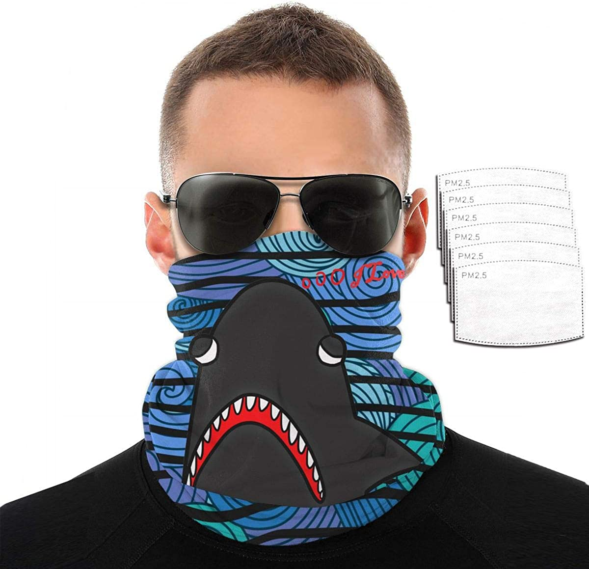 I Love Great White Shark Mens Warm Face Cover Windproof Neck Cover +Multiple Filters with 6 Filter