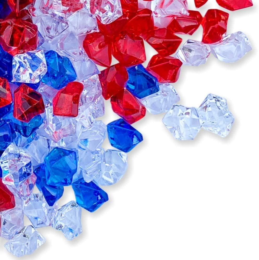 PMLAND Patriotic Acrylic Ice Rocks Crystals Gems ~550 Pcs 3 lbs Bulk Bag for Vase Filler Table Scatter Party Wedding Arts Crafts Decoration Display Idea -Red Blue Clear Blend
