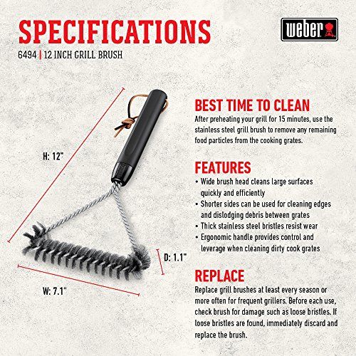 Weber 6494 12-Inch 3-Sided Grill Brush