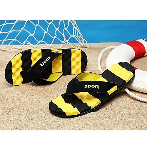 Al Playa Transpirable Amarillo Sandalias Plano para Hombre Zapatillas Fondo Libre Aire CHNHIRA Verano de 8waSq0W