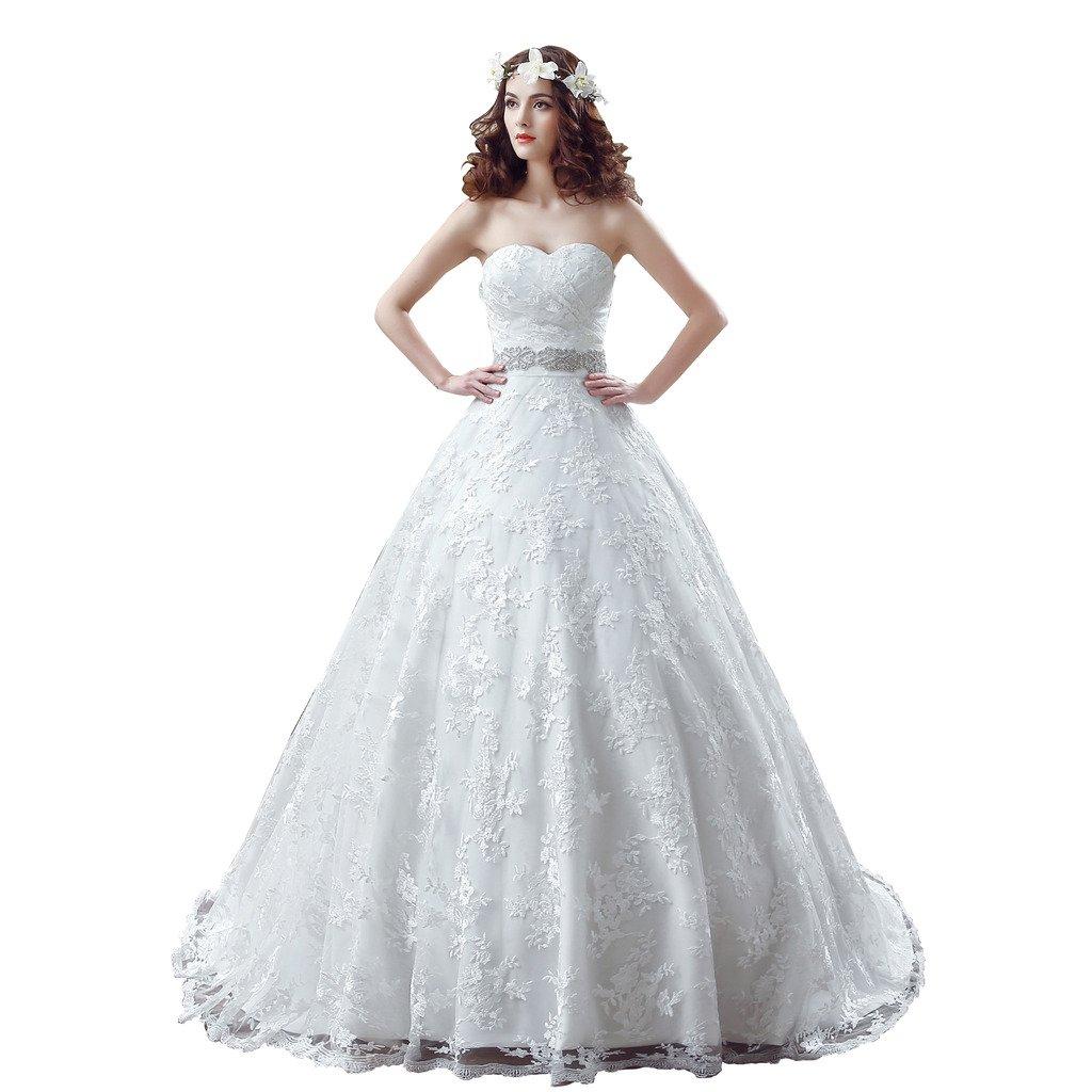 BoShi Women's Lace Sashes Beads Bride Gowns Court Train Wedding Dresses US 08