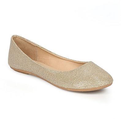 bbf703181 Women's Shiny Glitter Ballet Flats Slip On Dress Ballerina Sparkle Wedding  Shoes Champagne 6.5