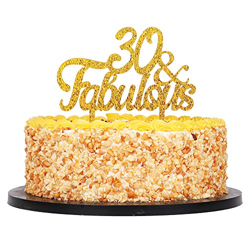 QIYNAO Gold Premium Quality Acrylic 30 Fabulous Cake Topper Happy 30th Birthday Anniversary Party Decoration