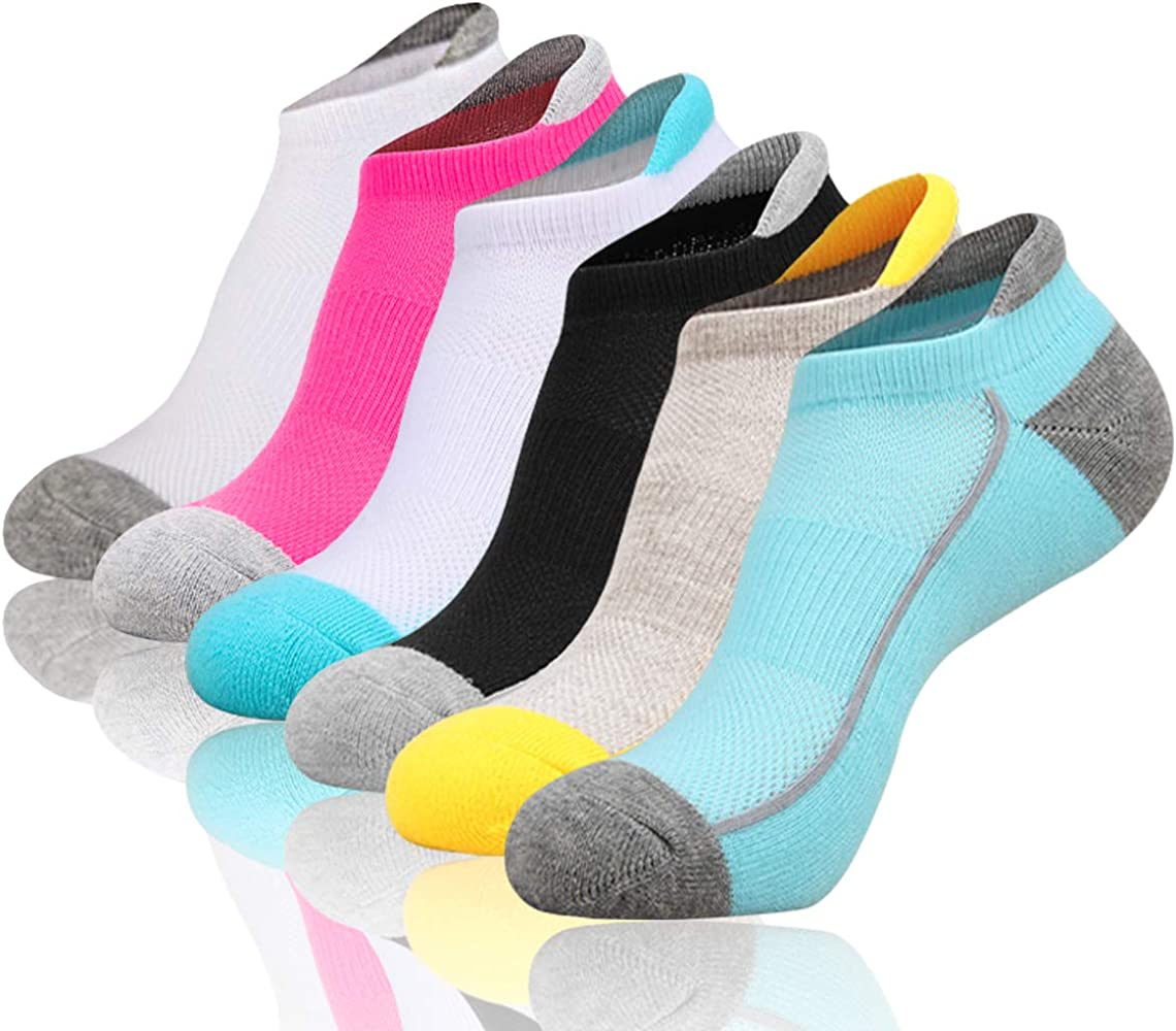 Amazon.com: Heatuff Womens Low Cut Ankle Athletic Socks Cushioned Running  Performance Breathable Tab Sock 6 Pack: Clothing
