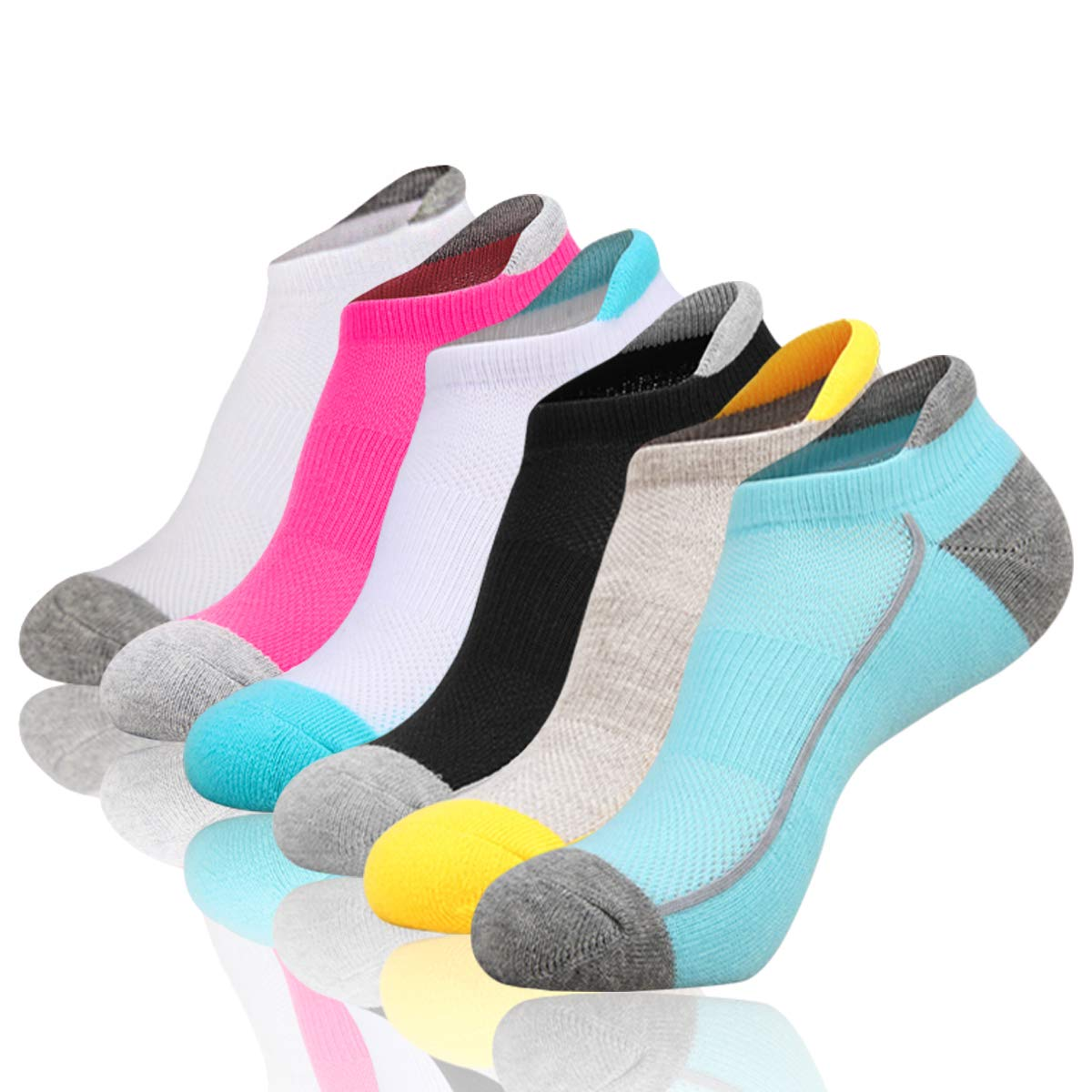 Heatuff Womens Low Cut Ankle Athletic Socks Cushioned Running No Show Breathable Tab Sock 6 Pack by Heatuff