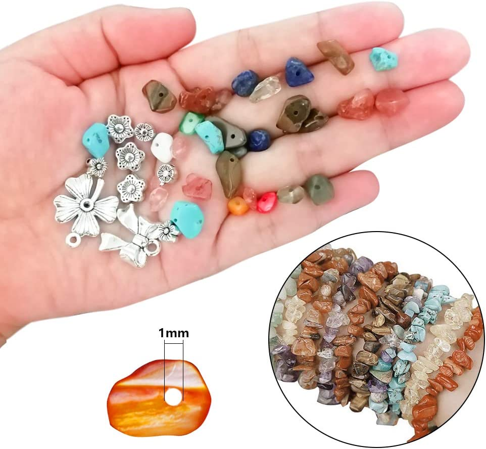 Arts Stone Beads Juanya Irregular Chips Stone Gemstone Beads Kit with 15 Slot Box Jewelry Making Supplies for DIY Necklaces Bracelets Earrings Ear Wire Spacers Elastic String Jump Rings