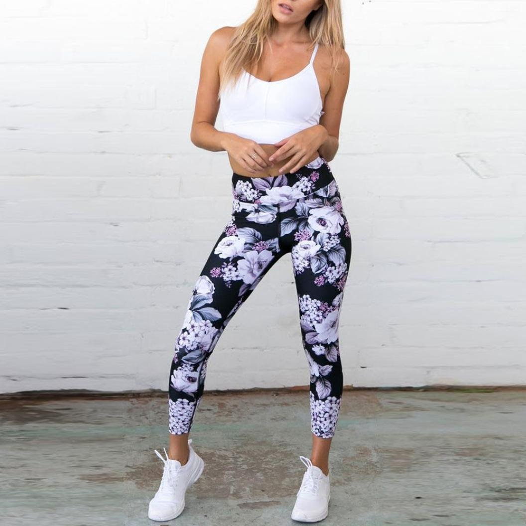 b13ae583cc3495 Yoga Leggings, Fat.chot Frauen Damen Blumen Gedruckt Leggins Fitness Sport  Gym Running Yoga Sportliche Hosen Hohe Taille Elastizität Hosen Mode Lässig  ...