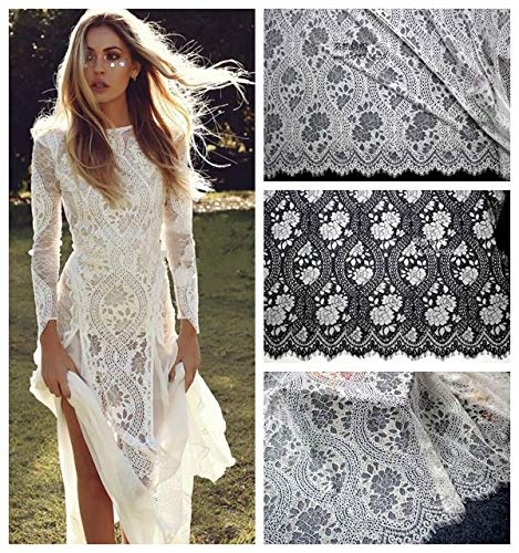 Laliva 3M/Lot Black White Width 150CM Eyelash Lace Fabric DIY Wedding Dress Clothing Home Furnishing Decorations Sew Accessories - (Color: Off White)