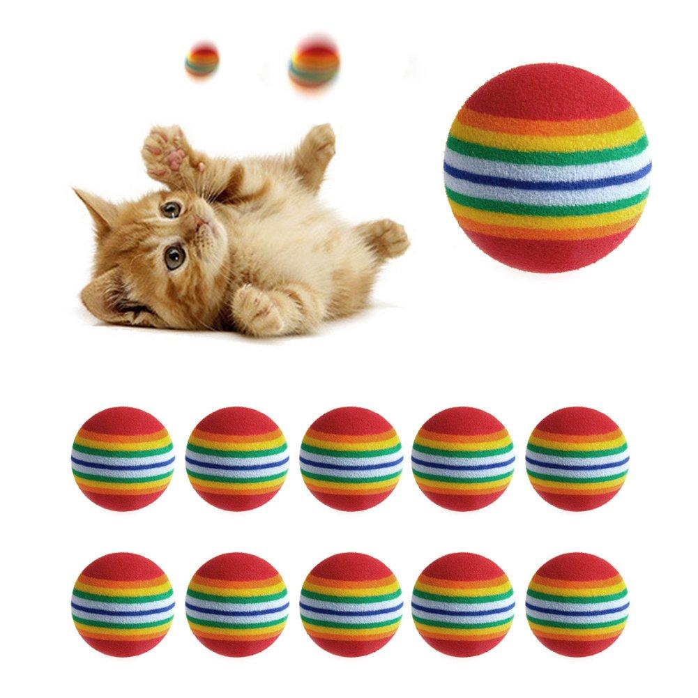 Amrka 10 Pcs Colorful Pet Dog Cat Kitten Soft Eva Foam Rainbow Play Balls Golf Practice Balls Activity Toys