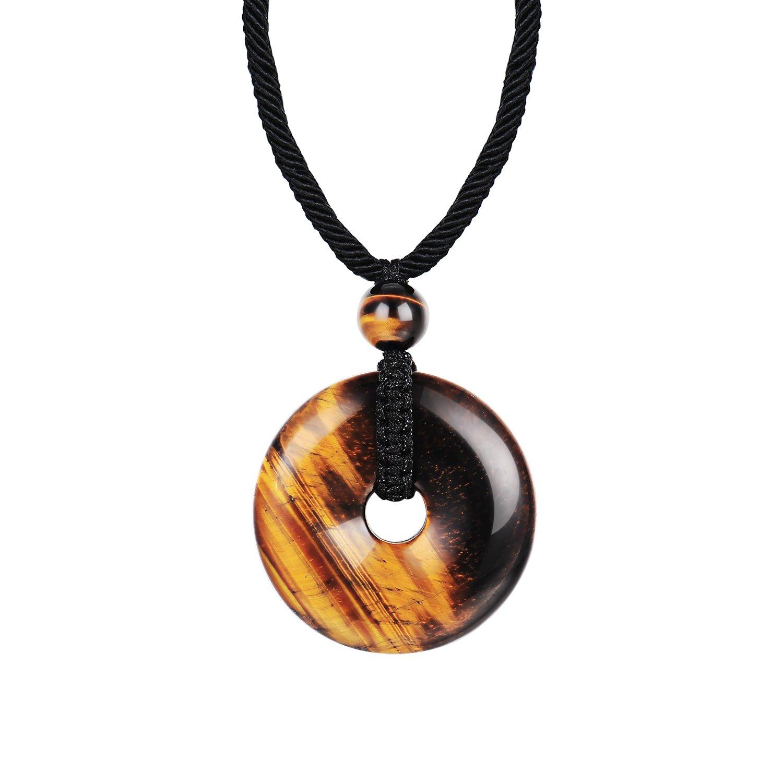 Haskare Mens Stone Pendant Tiger Eye Chakra Healing Pendant Necklace, Adjustable 0''-27''