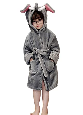 HAHABABY Children Bathrobes Unisex Baby Dressing Gown Soft Cotton Washable Nightgown Towelling Robe for Kids Toddler