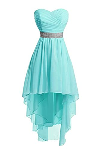 Uryouthstyle Hi-lo Homecoming Dresses Strapless Shinining Belts Bridesmaid Dresses