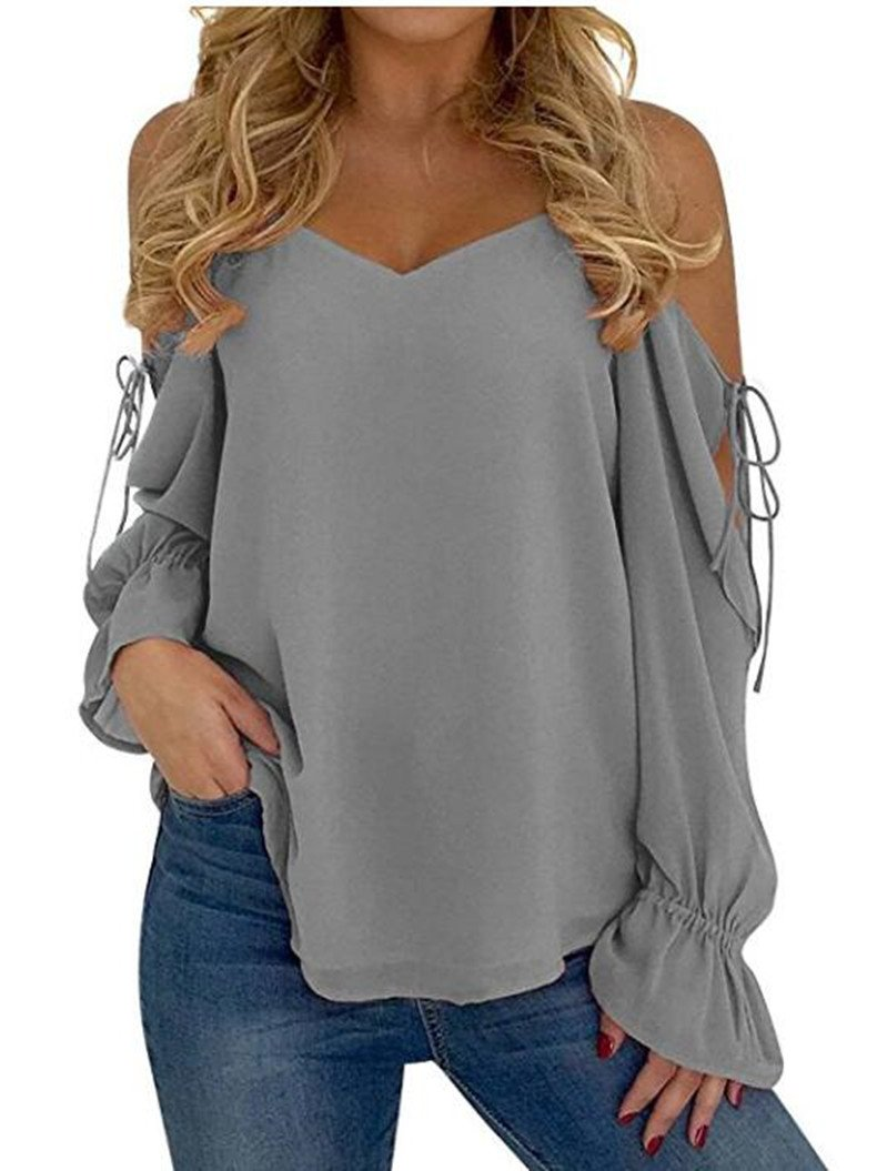 DearQ Womens Summer Round Neck Cold Shoulder Tees Slim Tunic Tops Casual Short Sleeve Strappy T-Shirt Blouse Grey XL